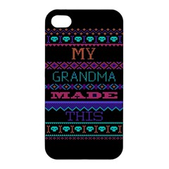 My Grandma Made This Ugly Holiday Black Background Apple Iphone 4/4s Hardshell Case by Onesevenart