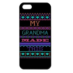 My Grandma Made This Ugly Holiday Black Background Apple Iphone 5 Seamless Case (black) by Onesevenart