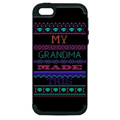 My Grandma Made This Ugly Holiday Black Background Apple Iphone 5 Hardshell Case (pc+silicone) by Onesevenart