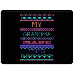 My Grandma Made This Ugly Holiday Black Background Double Sided Fleece Blanket (large)  by Onesevenart