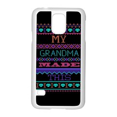 My Grandma Made This Ugly Holiday Black Background Samsung Galaxy S5 Case (white) by Onesevenart