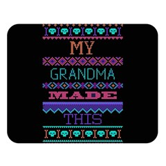 My Grandma Made This Ugly Holiday Black Background Double Sided Flano Blanket (large)  by Onesevenart
