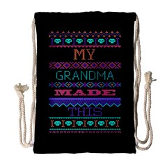 My Grandma Made This Ugly Holiday Black Background Drawstring Bag (large) by Onesevenart