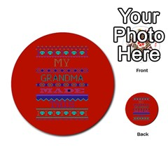 My Grandma Made This Ugly Holiday Red Background Multi Purpose Cards (round)  by Onesevenart