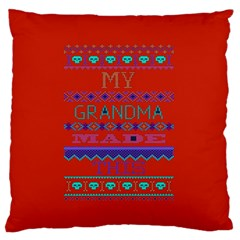 My Grandma Made This Ugly Holiday Red Background Large Flano Cushion Case (one Side) by Onesevenart