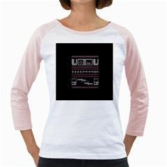 Old School Ugly Holiday Christmas Black Background Girly Raglans by Onesevenart