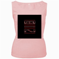 Old School Ugly Holiday Christmas Black Background Women s Pink Tank Top by Onesevenart