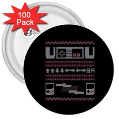 Old School Ugly Holiday Christmas Black Background 3  Buttons (100 Pack)  by Onesevenart