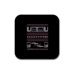 Old School Ugly Holiday Christmas Black Background Rubber Square Coaster (4 Pack)  by Onesevenart