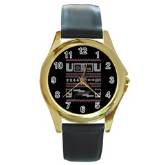 Old School Ugly Holiday Christmas Black Background Round Gold Metal Watch by Onesevenart