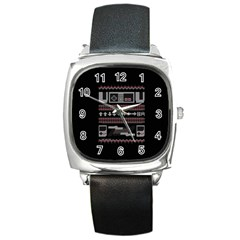 Old School Ugly Holiday Christmas Black Background Square Metal Watch by Onesevenart