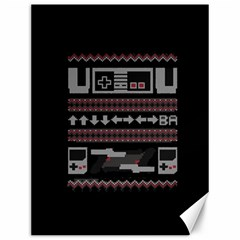 Old School Ugly Holiday Christmas Black Background Canvas 12  X 16   by Onesevenart