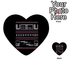 Old School Ugly Holiday Christmas Black Background Multi Purpose Cards (heart)  by Onesevenart