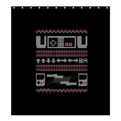 Old School Ugly Holiday Christmas Black Background Shower Curtain 66  X 72  (large)  by Onesevenart