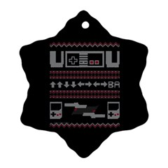 Old School Ugly Holiday Christmas Black Background Ornament (snowflake)  by Onesevenart