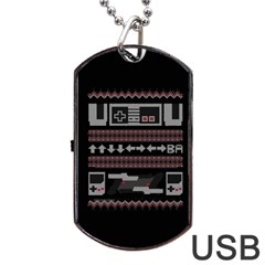 Old School Ugly Holiday Christmas Black Background Dog Tag Usb Flash (one Side) by Onesevenart
