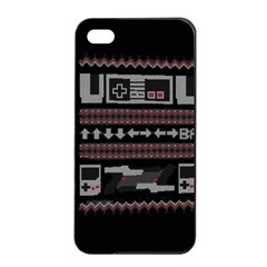 Old School Ugly Holiday Christmas Black Background Apple Iphone 4/4s Seamless Case (black) by Onesevenart