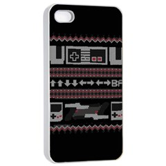 Old School Ugly Holiday Christmas Black Background Apple Iphone 4/4s Seamless Case (white) by Onesevenart