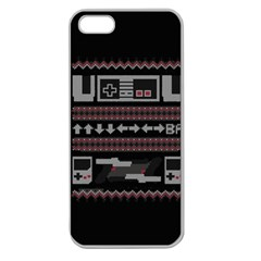 Old School Ugly Holiday Christmas Black Background Apple Seamless Iphone 5 Case (clear) by Onesevenart