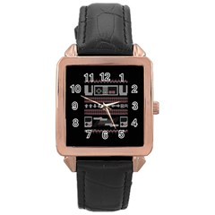 Old School Ugly Holiday Christmas Black Background Rose Gold Leather Watch  by Onesevenart