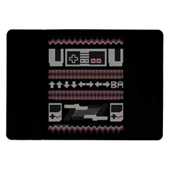 Old School Ugly Holiday Christmas Black Background Samsung Galaxy Tab 10 1  P7500 Flip Case by Onesevenart
