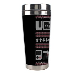 Old School Ugly Holiday Christmas Black Background Stainless Steel Travel Tumblers by Onesevenart