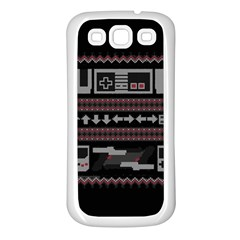 Old School Ugly Holiday Christmas Black Background Samsung Galaxy S3 Back Case (white) by Onesevenart