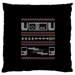 Old School Ugly Holiday Christmas Black Background Large Flano Cushion Case (one Side) by Onesevenart