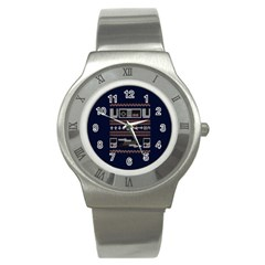 Old School Ugly Holiday Christmas Blue Background Stainless Steel Watch by Onesevenart