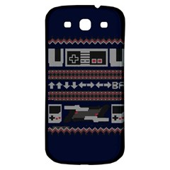 Old School Ugly Holiday Christmas Blue Background Samsung Galaxy S3 S Iii Classic Hardshell Back Case by Onesevenart