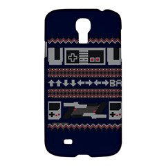 Old School Ugly Holiday Christmas Blue Background Samsung Galaxy S4 I9500/i9505 Hardshell Case by Onesevenart