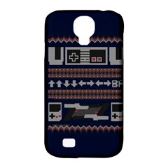 Old School Ugly Holiday Christmas Blue Background Samsung Galaxy S4 Classic Hardshell Case (pc+silicone) by Onesevenart