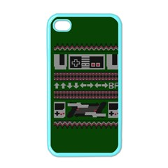 Old School Ugly Holiday Christmas Green Background Apple Iphone 4 Case (color) by Onesevenart