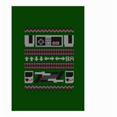 Old School Ugly Holiday Christmas Green Background Small Garden Flag (two Sides) by Onesevenart