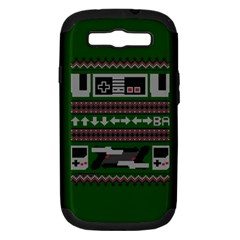 Old School Ugly Holiday Christmas Green Background Samsung Galaxy S Iii Hardshell Case (pc+silicone) by Onesevenart