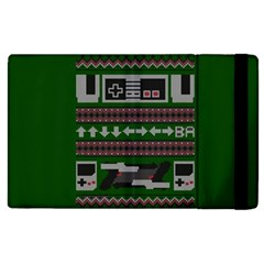Old School Ugly Holiday Christmas Green Background Apple Ipad 2 Flip Case by Onesevenart