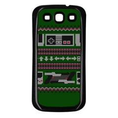 Old School Ugly Holiday Christmas Green Background Samsung Galaxy S3 Back Case (black) by Onesevenart