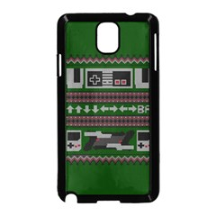 Old School Ugly Holiday Christmas Green Background Samsung Galaxy Note 3 Neo Hardshell Case (black) by Onesevenart