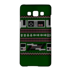 Old School Ugly Holiday Christmas Green Background Samsung Galaxy A5 Hardshell Case  by Onesevenart