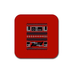 Old School Ugly Holiday Christmas Red Background Rubber Square Coaster (4 Pack)  by Onesevenart