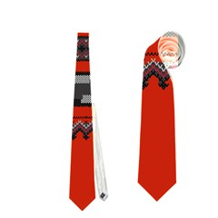 Old School Ugly Holiday Christmas Red Background Neckties (two Side)  by Onesevenart