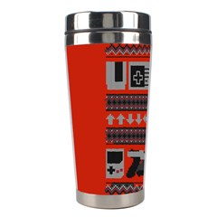 Old School Ugly Holiday Christmas Red Background Stainless Steel Travel Tumblers by Onesevenart