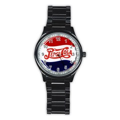 Pepsi Cola Stainless Steel Round Watch by Onesevenart