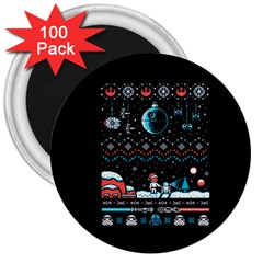 That Snow Moon Star Wars  Ugly Holiday Christmas Black Background 3  Magnets (100 Pack) by Onesevenart