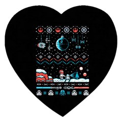 That Snow Moon Star Wars  Ugly Holiday Christmas Black Background Jigsaw Puzzle (heart) by Onesevenart
