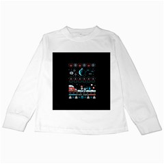 That Snow Moon Star Wars  Ugly Holiday Christmas Black Background Kids Long Sleeve T Shirts by Onesevenart