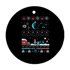 That Snow Moon Star Wars  Ugly Holiday Christmas Black Background Round Ornament (two Sides)  by Onesevenart