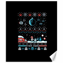 That Snow Moon Star Wars  Ugly Holiday Christmas Black Background Canvas 8  X 10  by Onesevenart