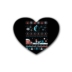 That Snow Moon Star Wars  Ugly Holiday Christmas Black Background Heart Coaster (4 Pack)  by Onesevenart