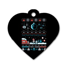 That Snow Moon Star Wars  Ugly Holiday Christmas Black Background Dog Tag Heart (one Side) by Onesevenart